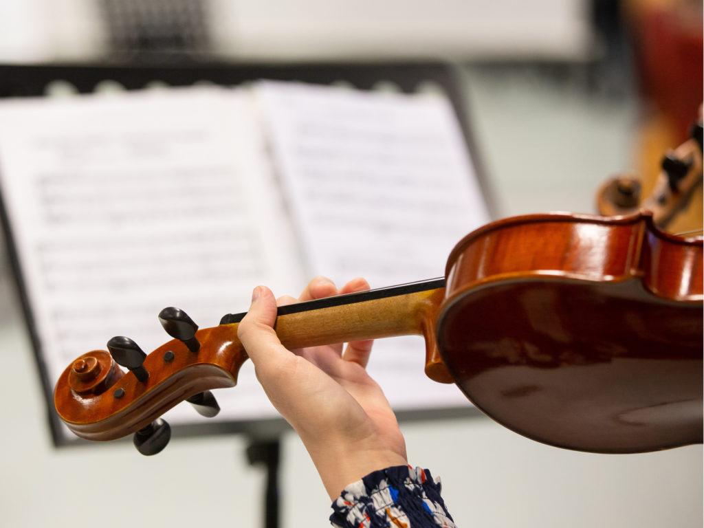 Käsi pitelee viulua.